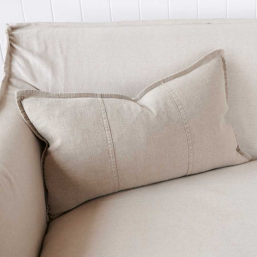 Luca Linen Cushion in natural crafted from 100% pre washed linen
