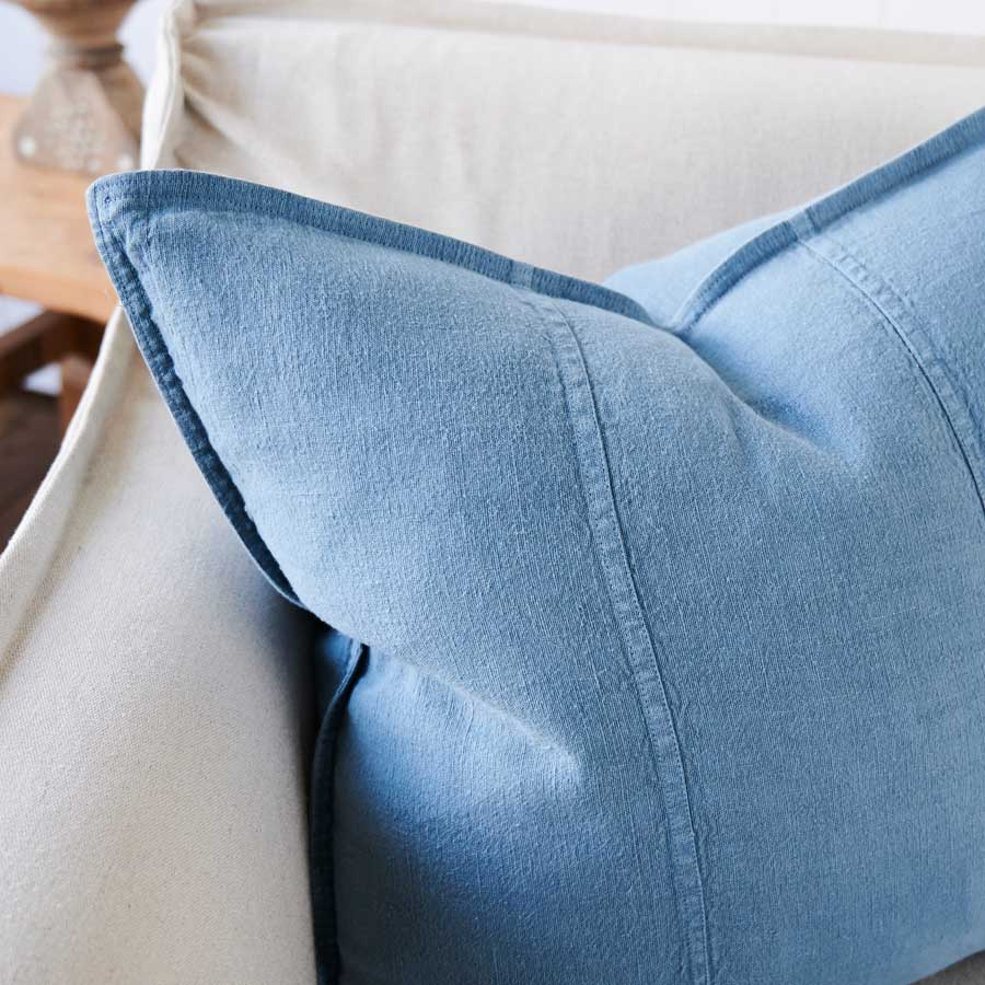 Luca Linen Cushion in Blue Azure colour crafted from 100% pre washed linen