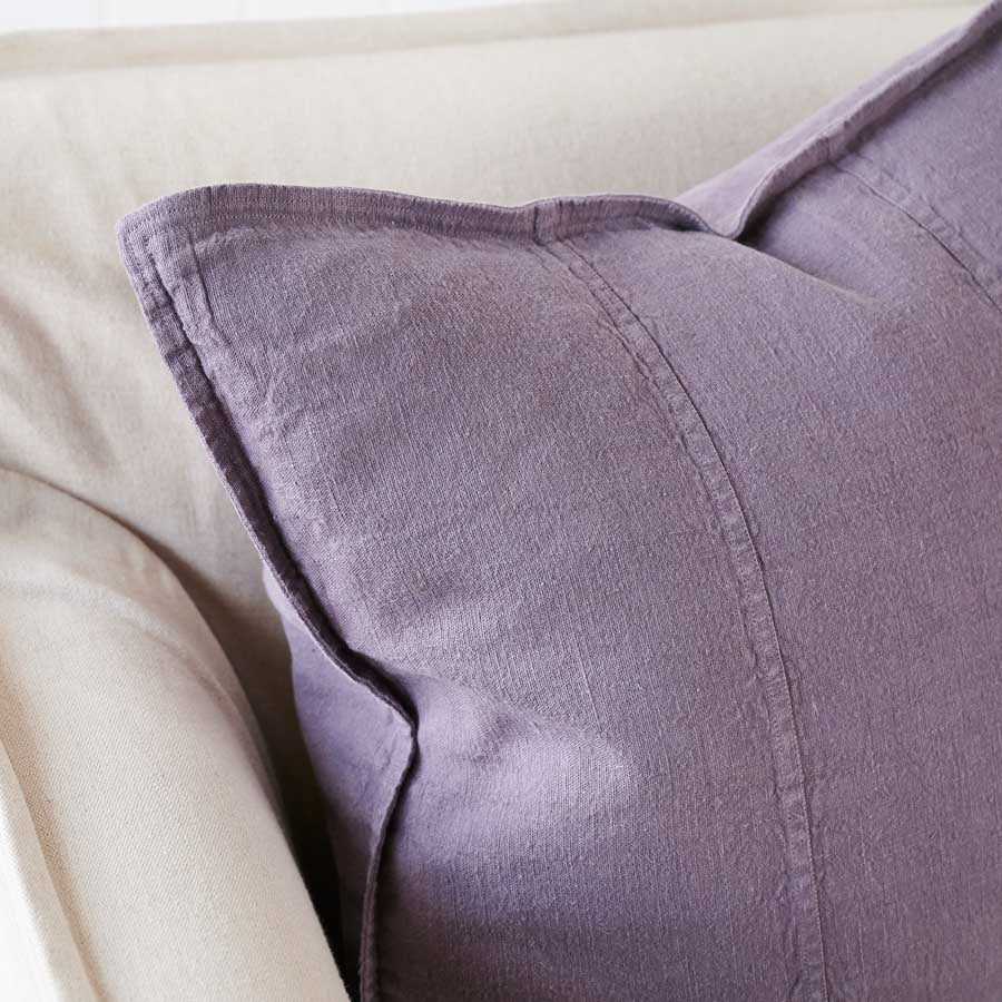 Luca Linen Cushion in Aubergine colour crafted from 100% pre washed linen
