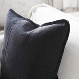 Luca Linen Cushion in Black colour crafted from 100% pre washed linen