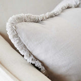 Luca Boho Linen Cushion - Silver Grey