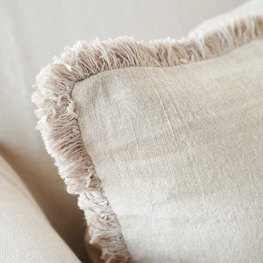 Luca Boho Linen Cushion - Natural