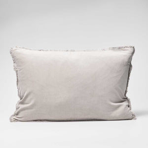 Lynette Boho Velvet Cushion - Silver Grey