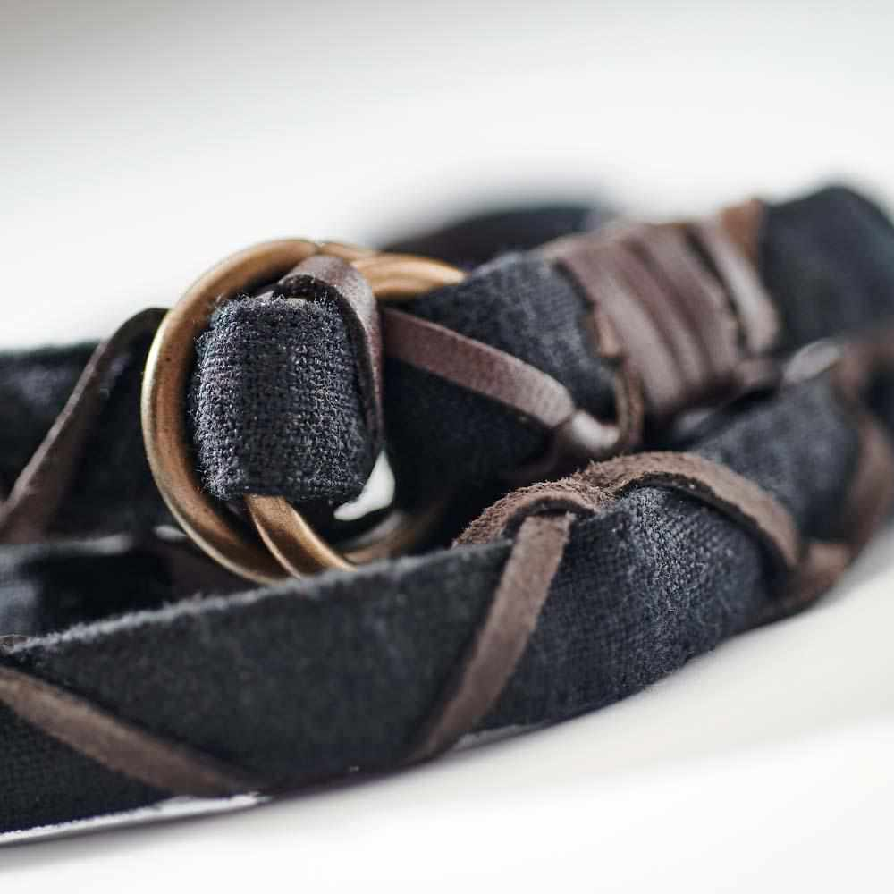 Dark Slate Gray The Bespoke Linen Belt - Black Black Linen/Leather