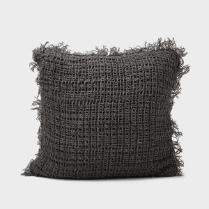Dark Slate Gray Rustica Linen Cushion Coal / Small Square: 50x50cm