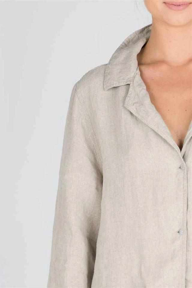 Light Gray The Essential Linen Shirt - Natural Natural / S/M,Natural / M/L,Natural / XL