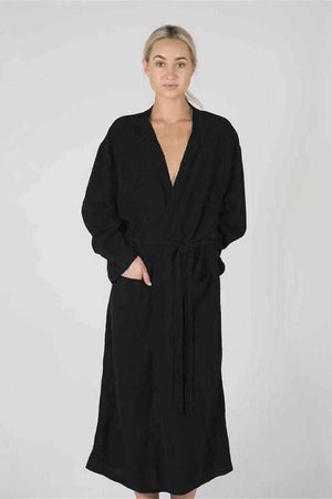 Light Gray The Linen Robe - Black Black / OSFA