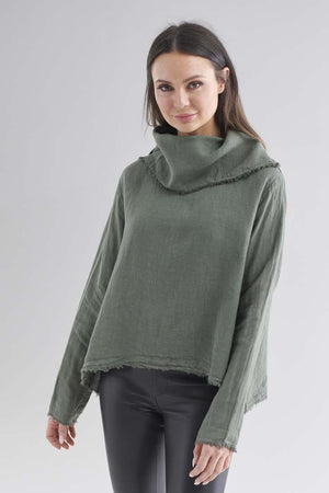 Eadie Lifestyle's Baron Linen Top in Khaki