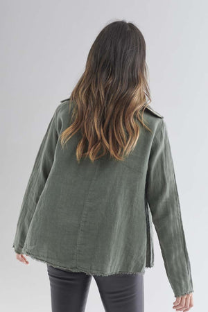 Back detail on Eadie Lifestyle's Baron Linen Top in Khaki