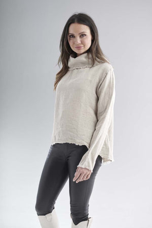 Eadie Lifestyle's Baron Linen Top in Natural with black leather leggings