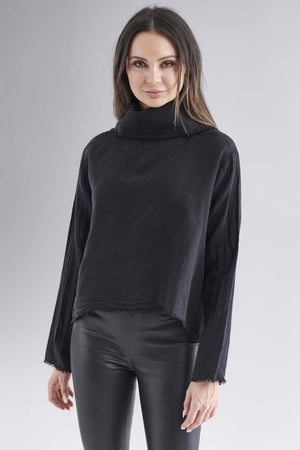 Eadie Lifestyle's Baron Linen Top in Black with black leather leggings