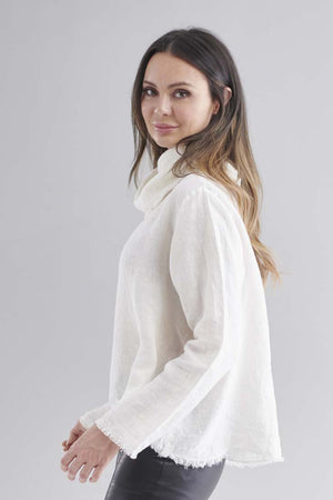 Eadie Lifestyle's Baron Linen Top in White with black leather leggings