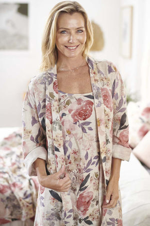 Eadie Lifestyle's Posy Floral Linen Robe with matching Posy Linen Slip Dress