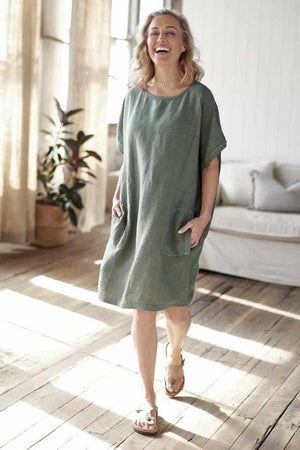 Khaki Euro Linen Pocket Dress with side pockets