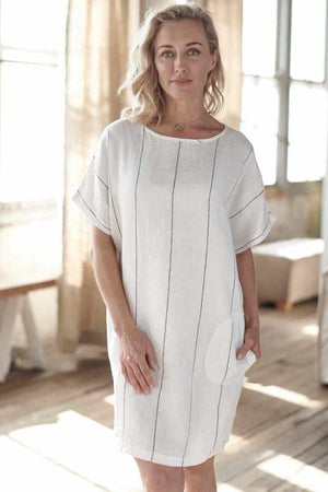 Carter Stripe Euro Linen Pocket Dress