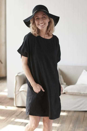 Black Euro Linen Pocket Dress with side pockets