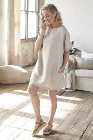 Natural Euro Linen Pocket Dress with side pockets