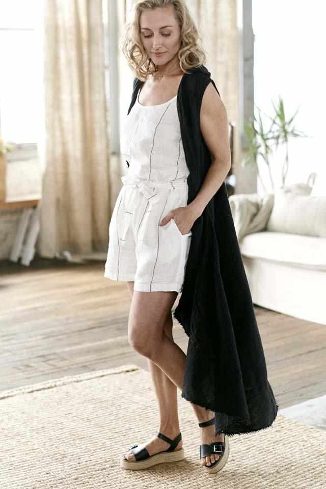 Carter Euro Linen Cami and Carter Linen Shorts and Black Linen Wanderer Coat