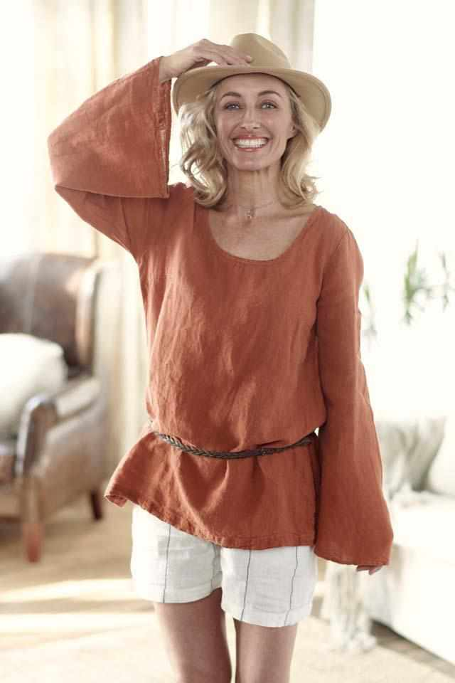 euro linen tobacco bell sleeve top with carter linen shorts and narrow leather belt