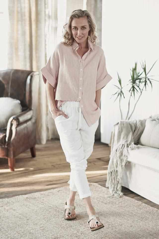 Euro Linen White Lounge Pant and Euro Linen Summer Shirt