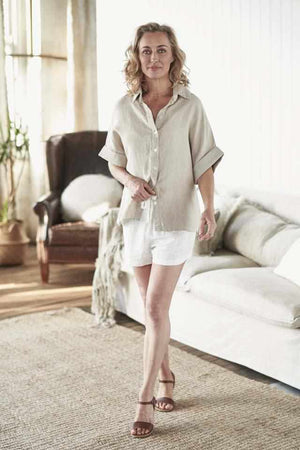 euro linen natural summer shirt and white linen shorts