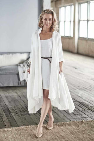 White Cascade Euro Linen Coat worn over the Linen Slip