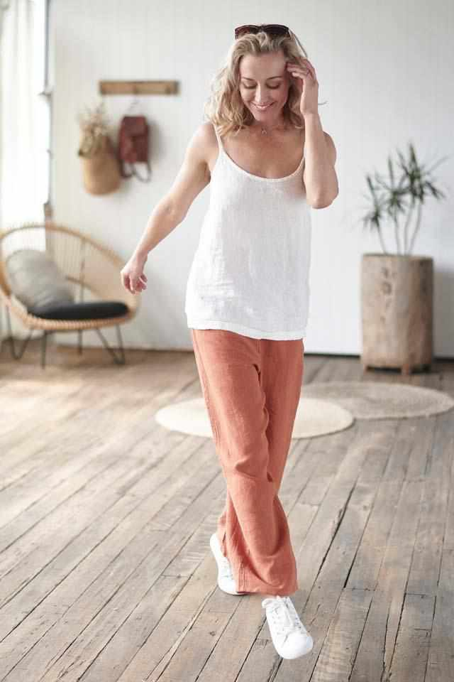 Euro Linen white cami top and Euro linen tobacco wide leg pant