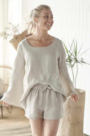 Natural Euro Linen Shorts and Natural Linen Bell Sleeve Top