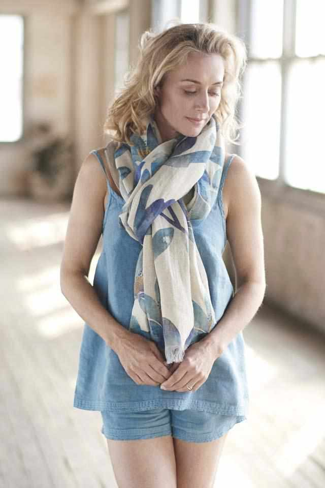 Blue Azure Euro Linen Cami and Linen Shorts with tulip print linen scarf