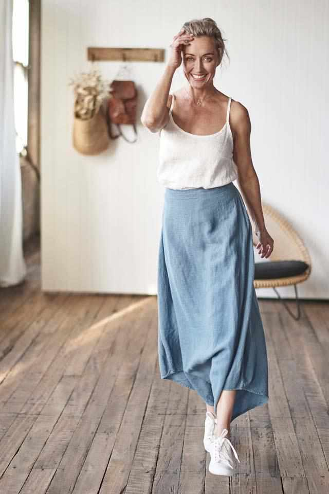 100% Euro Linen Culotte pant worn with the linen cami top