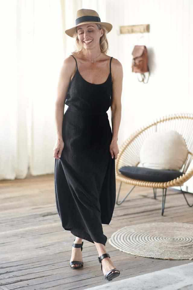 Euro Linen Black Cami and Black Linen Culotte