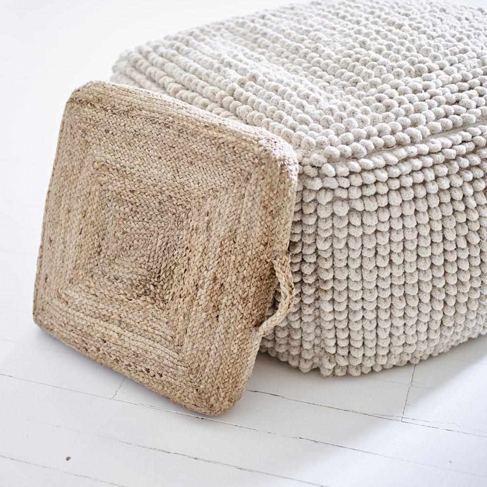 Rosy Brown Artisan Large Square Ottoman Cover Natural