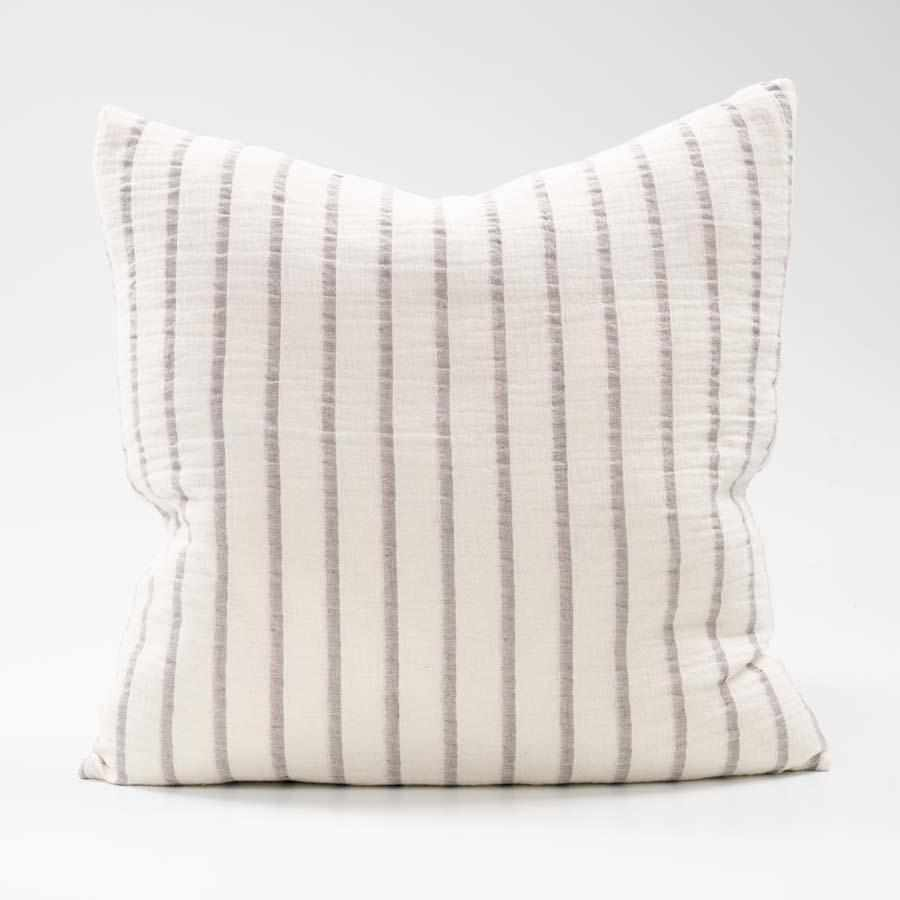 Sea Spray White Linen Cotton Blend Cushion with silver grey stripe