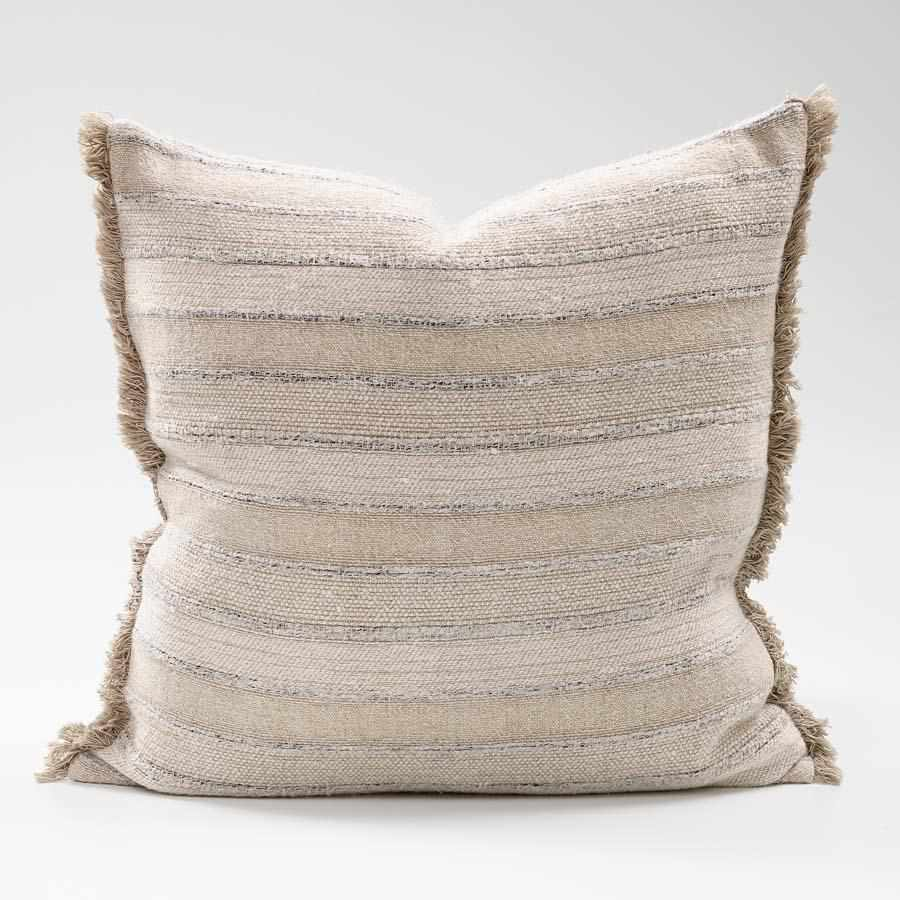 Tracks Yarn Dyed Linen Cotton Cushion with Natural Fringe