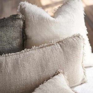 Natural Bedouin Euro linen cushion  collection with frayed edges