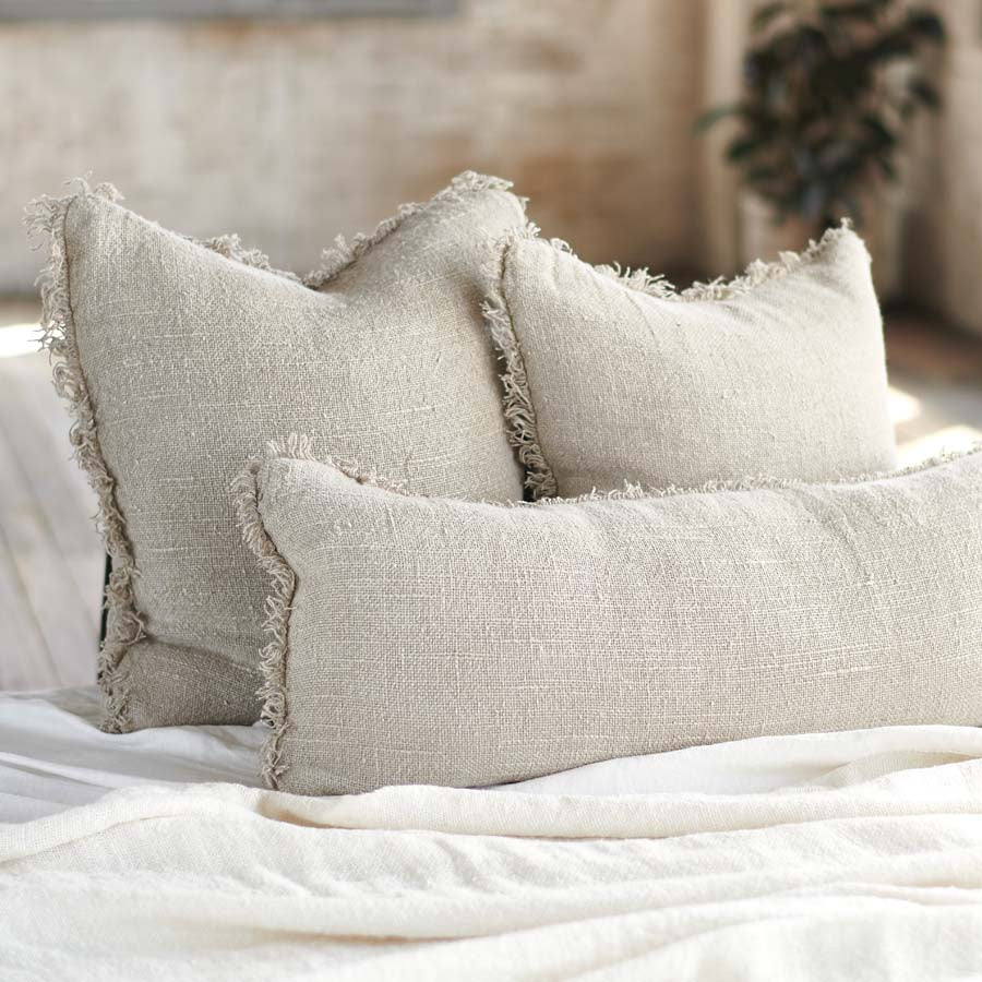 Natural Bedouin Euro linen cushion  with frayed edges and 100% feather filled insert