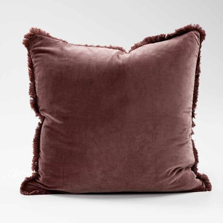 Lynette Boho Velvet Cushion in Preonze with feather filled insert