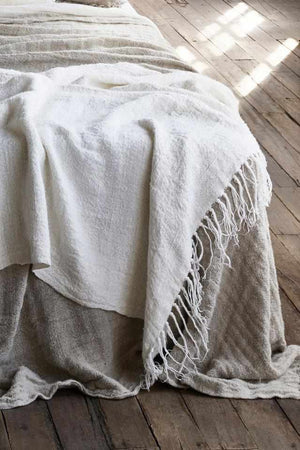 All Natural Ivory Bedouin Linen Bed Throw