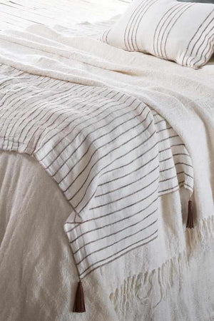 Rockpool Linen Throw with Organic Textures Stripe and leather tassels
