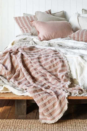 Low Tide 100% Declave Linen Bed Throw on bed