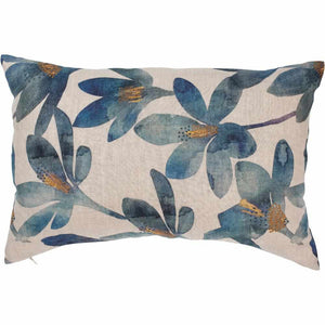 Gray Tulip Linen Cushion Blue Floral / Rectangle: 40x60cm