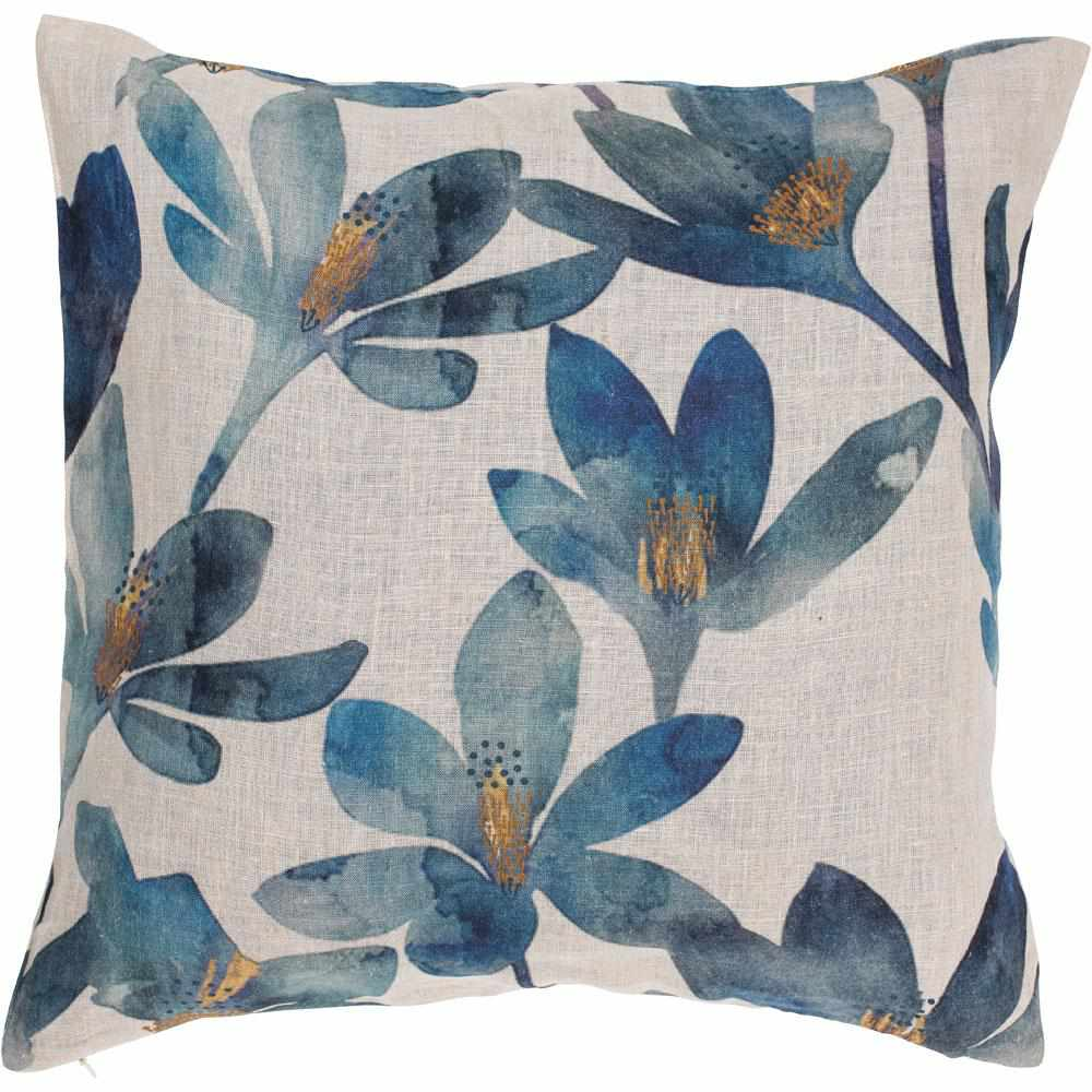 Gray Tulip Linen Cushion Blue Floral / Small Square: 50x50cm,Blue Floral / Large Square: 60x60cm
