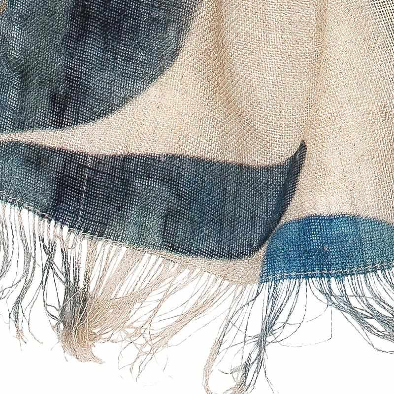 Dark Slate Gray Tulip Linen Scarf Blue Floral