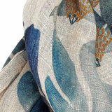 Slate Gray Tulip Linen Scarf Blue Floral