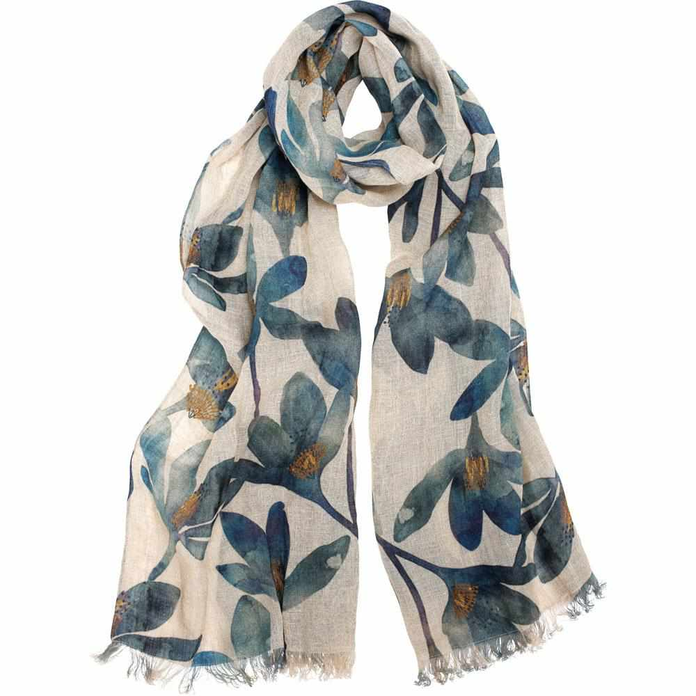 Gray Tulip Linen Scarf Blue Floral