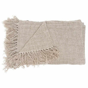 Gray Bedouin Linen Throw Natural / Rectangle: 200x140cm