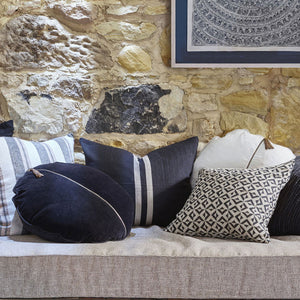 Eadie Lifestyle Black Circlyn Velvet Cushion on sofa