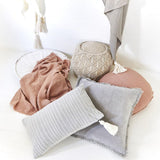 Eadie Lifestyle Lynette Boho Cushion in silver grey and dolce cushion