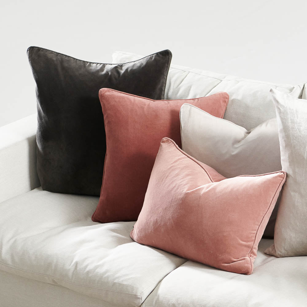 Lynette Velvet Cushion - Silver Grey