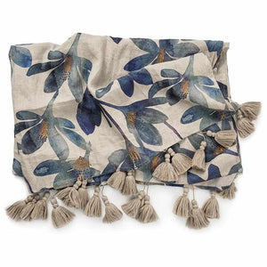 Gray Tulip Linen Throw Blue Floral